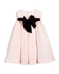 Helena Pleated Dress With Contrast Bow Pink Black