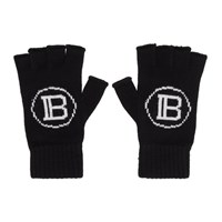Balmain Black Logo Fingerless Gloves