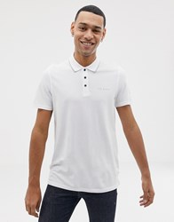 Ted Baker Polo Shirt With Tipped Collar In White