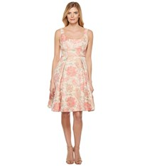 Maggy London Jacquard Bloom Fit And Flare Dress Pink Green Women's Dress