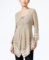 Ny Collection Petite Lace Up Striped Sweater Cleo