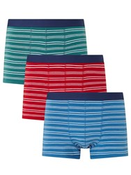 John Lewis Fine Stripe Trunks Pack Of 3 Green Red Blue