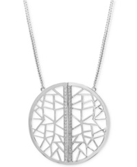 Effy Collection Geo By Effy Diamond Openwork Pendant Necklace 1 5 Ct. T.W. In Sterling Silver