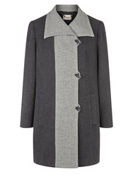 Eastex Charcoal Contrast Tipped Coat Multi Coloured