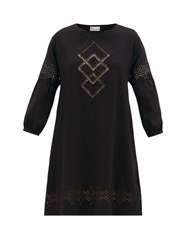 Red Valentino Redvalentino Cut Out Embroidered Crepe Dress Black