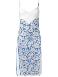 Paco Rabanne Lace Panel Slip Dress Women Nylon Polyester Viscose 38 Blue