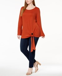 Ny Collection Plus Size Tie Hem Tunic Spiced Coral