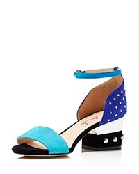 Isa Tapia Odessey Low Stud Block Heel Sandals Blue Multi