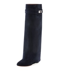 Suede Shark Lock Fold Over Boot Navy Givenchy