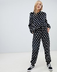 Daisy Street Relaxed Joggers In Faux Fur Polka Dot Co Ord Black And White