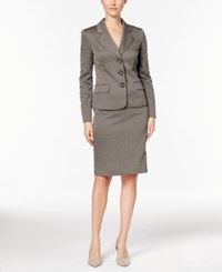 Le Suit Striped Three Button Skirt Earl Grey