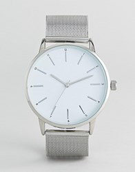 Burton Menswear Watch With Mesh Strap In Silver