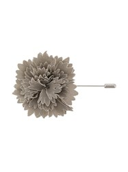 Lanvin Textured Flower Brooch Viscose Virgin Wool Calf Leather Zinc Grey