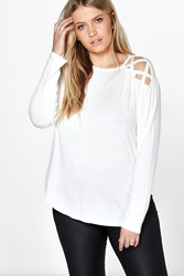 Boohoo Kaylee Long Sleeve Lace Up Detail Tee Cream