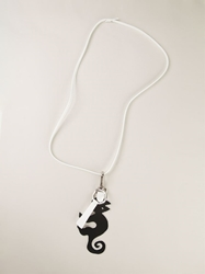 Jil Sander Navy Cat Pendant Necklace Black