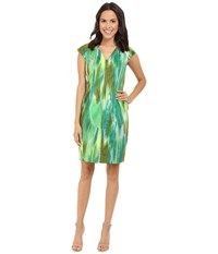 Tahari By Arthur S. Levine Sleeveless Sheath W Notch Neck Emerald Jade Olive Women's Dress Green