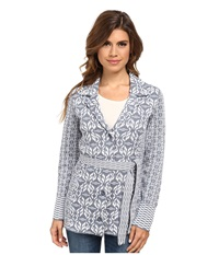 Pendleton Pattern Play Cardigan Blue Ash Ivory Multi Women's Sweatshirt Gray
