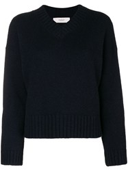 Pringle Of Scotland Loose V Neck Sweater Blue