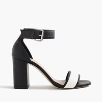 J.Crew Leather High Heel Sandals With Contrast Strap Black White