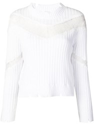 Pinko Ribbed Knit Lace Panel Sweater White