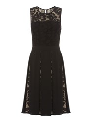 Dickins And Jones Black Dress With Lace Insert Detail