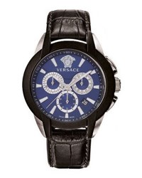 Versace 42.5Mm Men's Character Chronograph Watch W Leather Strap Blue