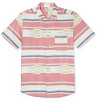 Faherty Coast Striped Cotton Oxford Shirt Red