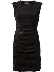 Nicole Miller Sleeveless Tucked Dress Black