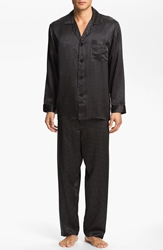 Majestic International Dot Silk Pajamas Black