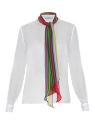 Mary Katrantzou Folia Rainbow Scarf Chiffon Blouse