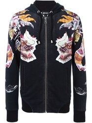 Just Cavalli Chinese Dragon Print Hoodie Black