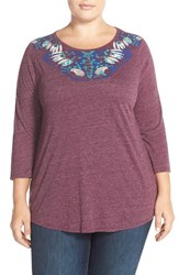 Plus Size Women's Lucky Brand Painterly Butterfly Print Tee