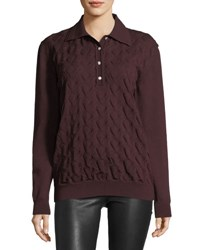 Marc Jacobs Cable Knit Long Sleeve Polo Sweater Light Brown