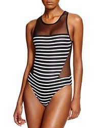 Vince Camuto High Neck Mesh One Piece Swimsuit Ebony