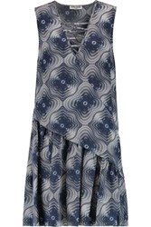 Opening Ceremony Medallion Printed Silk Chiffon Mini Dress Midnight Blue