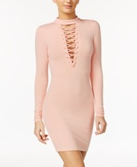 Material Girl Lace Up Bodycon Dress Only At Macy's Pale Blush