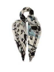 Alexander Mcqueen Skull And Rose Print Scarf Blue
