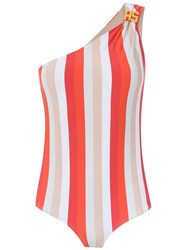 Amir Slama One Shoulder Swimsuit Red