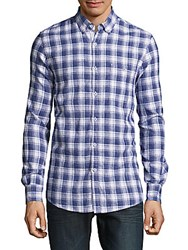 Report Collection Cotton And Linen Plaid Shirt Navy