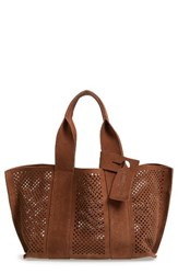 Pedro Garcia 'Castoro' Perforated Suede Tote Brown Cocoa