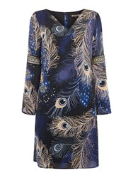 Biba Peacock Printed Frill Sleeve Dress Multi Coloured Multi Coloured