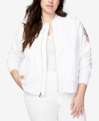 Rachel Roy Trendy Plus Size Embroidered Bomber Jacket Floral White