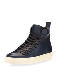 John Varvatos 315 Reed Leather Mid Top Sneaker Navy