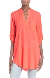 Junior Women's Lush 'Perfect' Roll Tab Sleeve Tunic Neon Pink