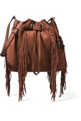 Diane Von Furstenberg Voyage Boho Fringed Suede Bucket Bag Light Brown