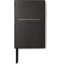 Smythson Panama Strictly Confidential Cross Grain Leather Notebook Black