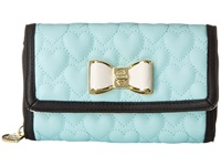 Betsey Johnson Be My Bow Wallet On A String Minty Blue Wallet Handbags