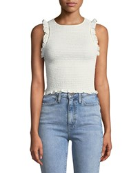 Likely Thomes Smocked Ruffle Top White
