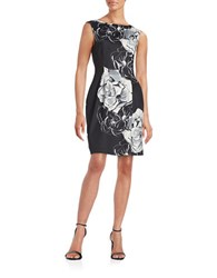 Vince Camuto Floral Fit And Flare Dress Black White