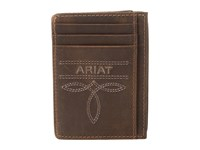 Ariat Fancy Scroll Toe Bug Card Case Medium Brown Distressed Credit Card Wallet